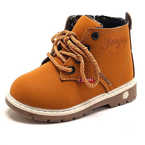 Antheron Baby Kids Boots - Boys Girls Rubber Sole PU Leather Warm Winter Shoes Hiking Snow Ankle Boots Toddler/Little Kid (Tan,22)