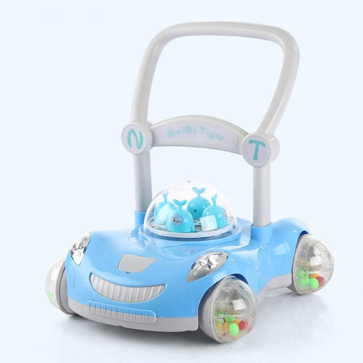 ZHAOHUIFANG Trolley, Walker Baby Can Adjust The Height And Low With Music With Flash 718 Month Trolley,bluee