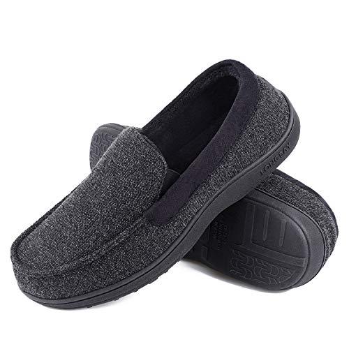 LongBay Men's loafer Moccasin Slippers,Black ,11 UK