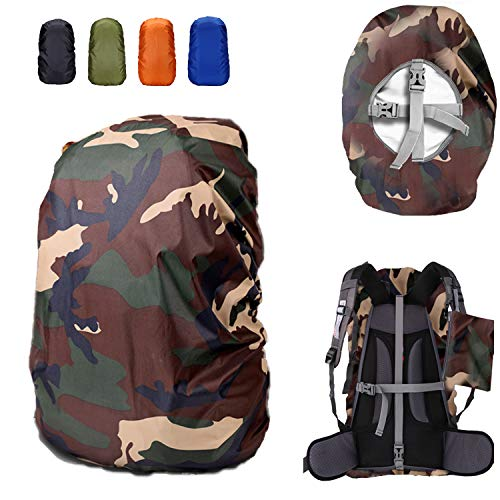 ZM-SPORTS 15-90L Upgraded Waterproof Backpack Rain Cover,with Vertical Adjustable Fixed Strap Avoid to Falling,Gift with Portable Storage Pack (Camouflage, 2XL(for 65-75L Backpack)