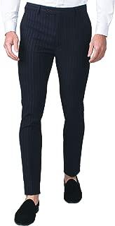 Avail London Mens Navy Suit Pants Skinny Fit Bold Chalk Stripe