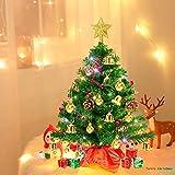 Weihnachtsbaum klein 50cm, künstlicher Christbaum mit bunter batteriebetriebener Lichterkette, Baumspitze, Kugeln, Schelle, Beeren, Kiefernzapfe, Weihnachtsdeko, Mini Tannenbaum für Tisch, Büro - 2