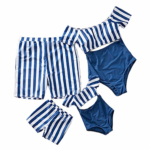 IFFEI Family Matching Swimwear One Piece Bathing Suit Striped Hollow Out Monokini Mommy and Me Beachwear Boys: 4-5 Years Blue