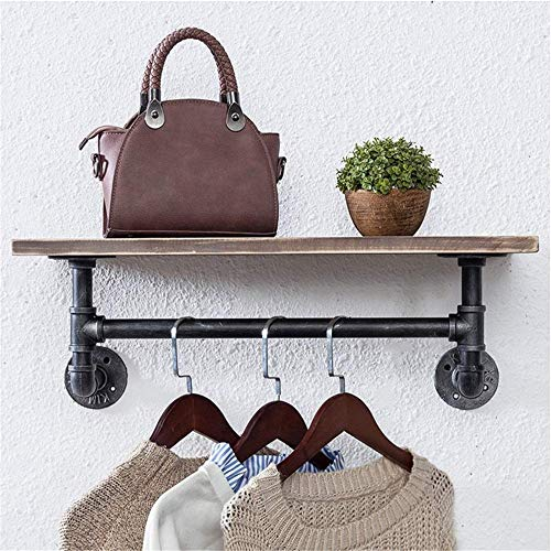 N/Z Home Furnishings Retro Water Pipe Bracket Home Wooden Wall Shelf Vintage Industrial Warehouse Pipe Style Urban Storage Shelves Industrial Decor (Color : Photo Color Size : 61x25x18cm)