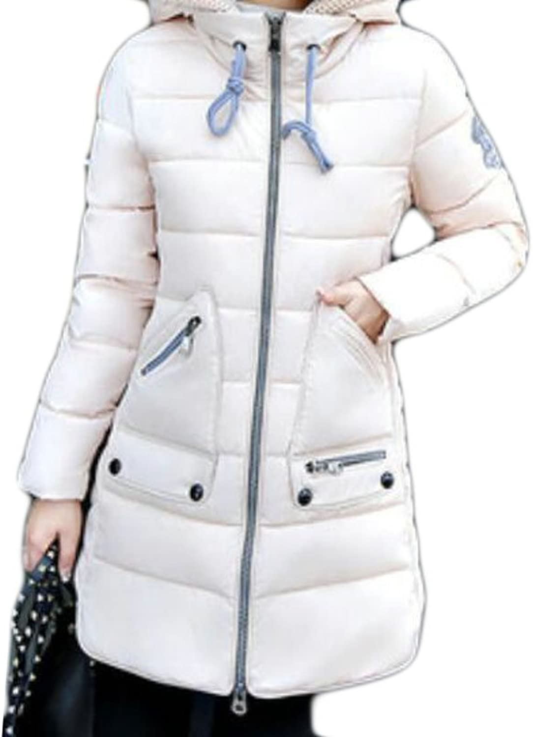 KLJRWomen Winter Plus Size Drawstring Hooded Quilted Padded Coats Overcoat