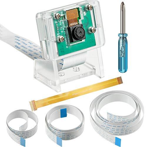 5 Megapixels 1080p Sensor OV5647 Mini Camera with Screwdrivers, Camera Holder and Flexible Ribbon Cable 6/ 11.8/ 19.69/ 39.37 Inch Flexible Ribbon for Pi 4, 6.3 Inch Compatible with Raspberry Pi Zero
