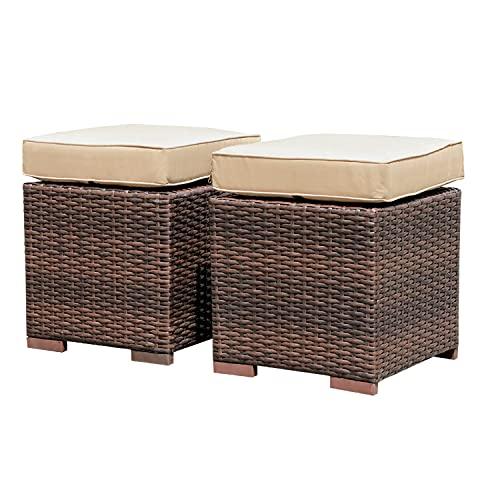 Sundo 2 Lounge Hocker, Fußhocker mit Sitzkissen, Gartenhocker mit Füße, Rattanhocker Geflecht braun, Gartenmöbel 44x38x38 cm