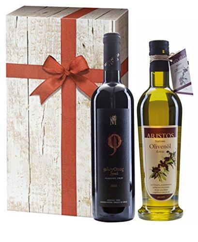 2tlg Griechisches Olivenöl Geschenk-Set | Griechischer Rotwein Syrah 2013 | kaltgepresstes Olivenöl | extra nativ | sortenrein | Geschenkkarton mit Holzoptik & Schleife | ARISTOS (Olivenöl & Rotwein)