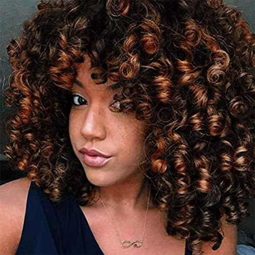 ColorfulPanda Afro Pelucas de pelo rizado para mujer negra, pelo natural negro marrón mezclado, pelucas brasileña de pelo sintéticas onduladas con Flequillo de Para Mujeres Fiesta Halloween Disfraz