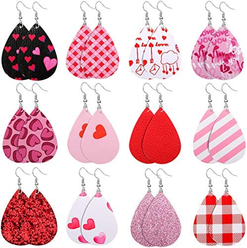 Hazms 12 Pairs Valentine s Day Faux Leather Earrings for Women Girls Teardrop Leaf Heart Print product image