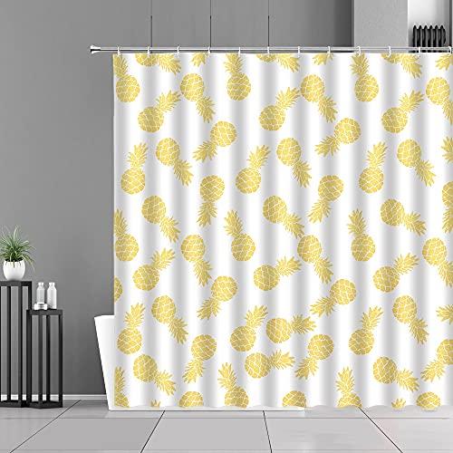 XCBN Obstmuster Küchenvorhänge Zitrone Ananas Druck Home Decoration Screen Wasserdichter Duschvorhang A4 120x180cm