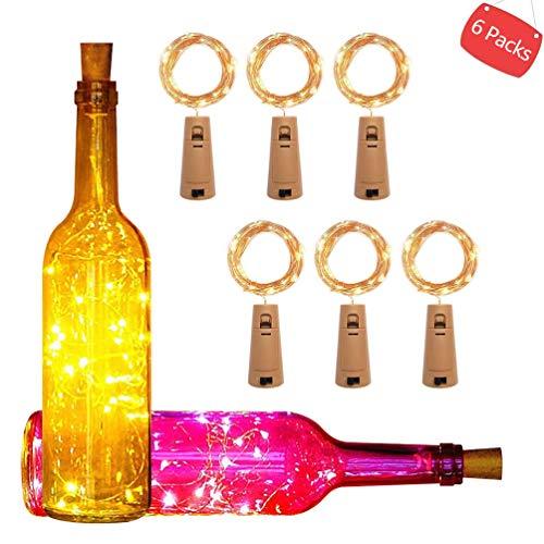 LEDGLE 6 PCS 75cm 15 LED Corcho Micro Luces LED para Botella de Vino, Luces Alambre de Cobre para Botella de Vino en Navidad Boda Partido Decoración o Noche Luces, Blanco Cálido