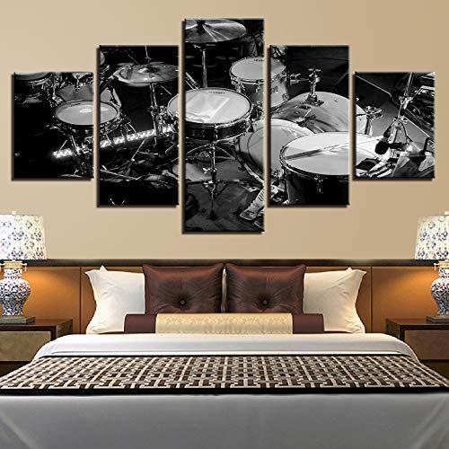 Aicedu Kunstdruk op canvas, voor de woonkamer, HD, wandfoto, kunst, 5-delig, muziekinstrumenten, schilderij decoratie van het huis, zwart en wit, trommel foto L-30x40 30x60 30x80cm Frame