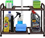 SimpleHouseware Under Sink 2 Tier Expandable Shelf Organizer Rack, Bronze (expand from 15 to 25 inches)