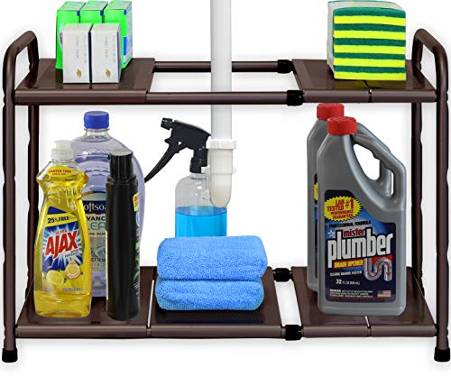 SimpleHouseware Under Sink 2 Tier Expandable Shelf Organizer Rack Bronze expand from 15 to 25 inches