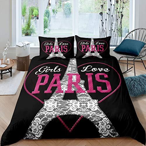 Erosebridal Kids Eiffel Tower Comforter Cover Twin Size Pink Love Heart Bedding Set Paris City Building Duvet Cover for Boys Girls Children Teens France Urban Bedspread Cover for Living Room