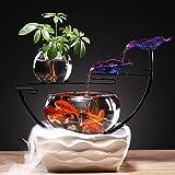 XYZMDJ Cerámica del Arte del Hierro de Cristal Interior Fuente de Agua Fish Oficina Ornamentos del Tanque Sala de Estar Escritorio Fuentes
