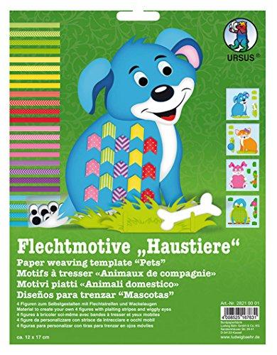Ursus 28210001F - Flechtmotive Haustiere, Flechtstreifen und Wackelaugen
