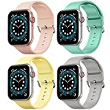 FITA [4 Pack] Correas Compatible con Apple Watch 42 mm 44 mm, Banda de Repuesto de Silicona Suave Compatible con iWatch Series SE/6/5/4/3/2/1 para Mujeres Hombres