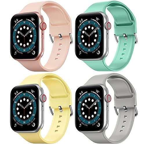 FITA [4 Pack] Correas Compatible con Apple Watch 40 mm 38 mm 42 mm 44 mm, Banda de Repuesto de Silicona Suave Compatible con iWatch Series SE / 6/5/4/3/2/1 para Mujeres Hombres