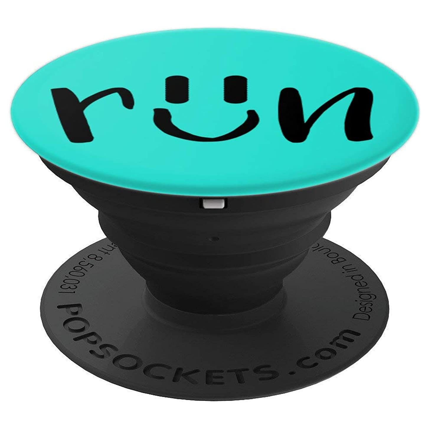 Run Smiley Face Blue/Aqua Running Design - PopSockets Grip and Stand for Phones and Tablets