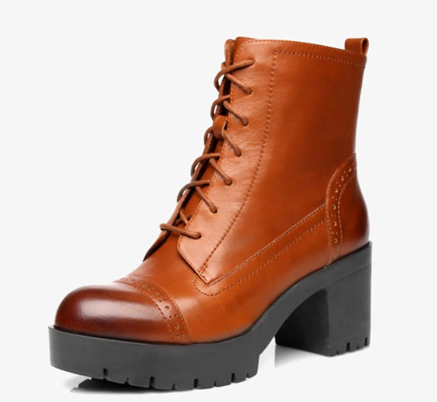 Shiney Women's Genuine Leather Ankle Boots High-Heeled Round Head Strap Chunky Heel Motorcycle Boots 2018 Autumn and Winter