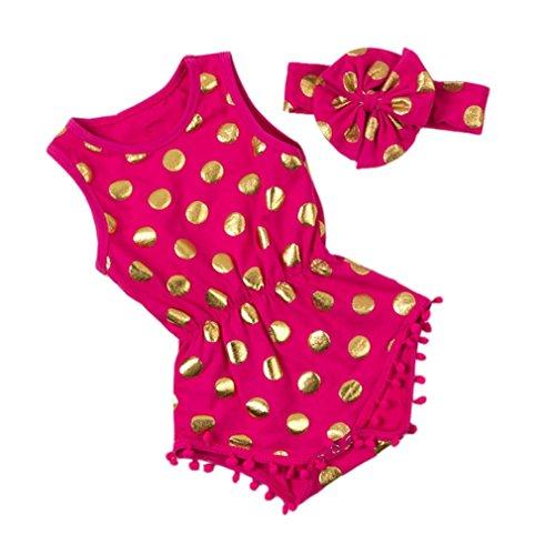 SAMGU Kids Bébé Filles Polka Dots Romper Combinaison Été Vêtements avec Bowknot Bandeau Rouge