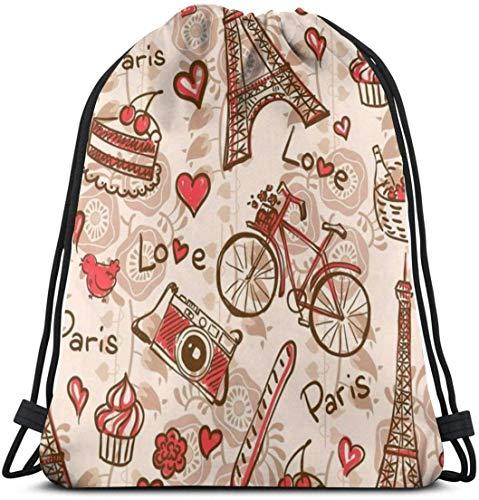 KINGAM Bolsa de gimnasio de la Torre Eiffel de París con tema rojo Love Berry Cake Camera Mochila con cordón para bicicleta Mochila de hombro ligera para mujeres