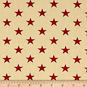 Santee Print Works Patriotic 108'' Quilt Backs Stars Fabric, Red/Antique, Fabric By The Yard