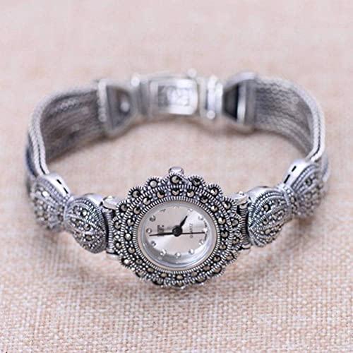 WOZUIMEI Reloj Vintage Plata de Ley 925 Reloj de Pulsera Vintage Joyas Plata Tailandesa Retro Craft Reloj para Mujerblanco
