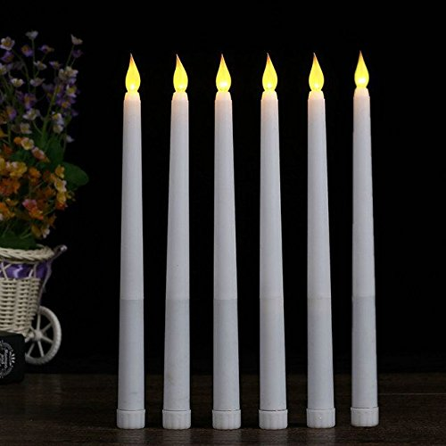 ARDUX 11 inch LED Flameless Taper Candles, with Battery Operated for Home Dinner Table Party Weddings Birthday (Set of 6)