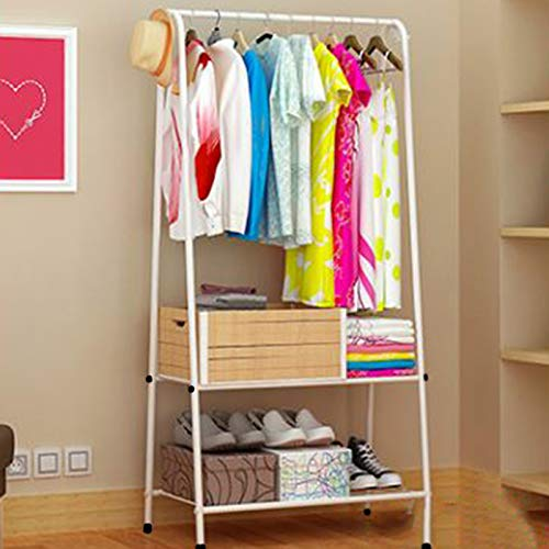 Youyijia Clothes Rack Clothes Storage Shelfs Rail Rack Garment Dress Hanging Display Shoes Stand (Pink)(White)