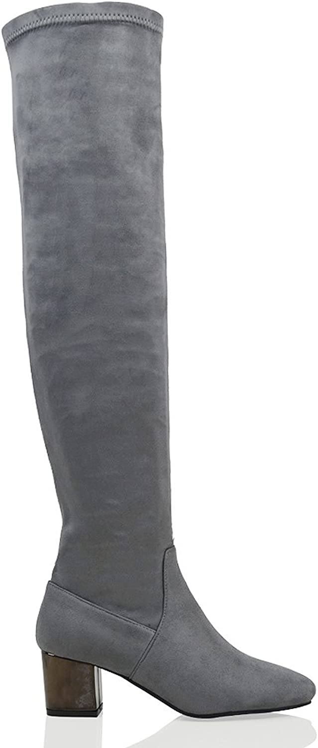 ESSEX GLAM Women's Over The Knee Chrome Low Heel Faux Suede Stretch Boots