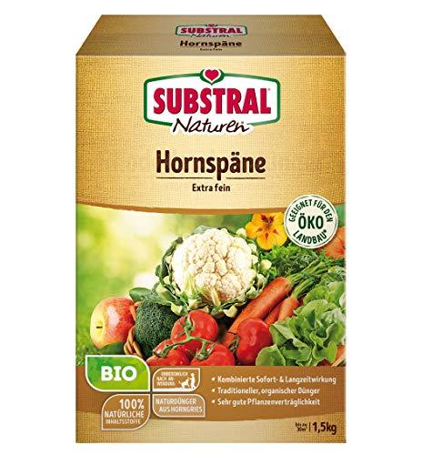 Substral Naturen Bio Hornspäne, Natürlich organischer Stickstoffdünger mit Sofort-und Langzeitwirkung, 3 kg