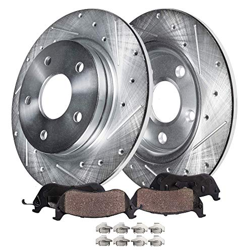 Detroit Axle - Pair (2) REAR Drilled and Slotted Disc Brake Kit Rotors w/Ceramic Pads w/Hardware for 06-12 Ford Fusion - [07-12 Lincoln MKZ] - 06-13 Mazda 6 - [06-11 Mercury Milan]