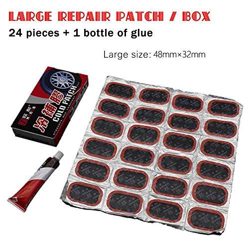 Funihut Reparatieset voor autobanden, reparatieset voor banden, autobanden, reparatie, gereedschap, bandenpannen voor motorfiets, MTB, met lijm B: Grand film (24 pièces)