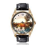 Reloj de Pulsera analógico de Cuarzo con diseño de Palmas soleadas para Piscina, Esfera de Oro, Correa de Piel clásica, para Hombre y Mujer
