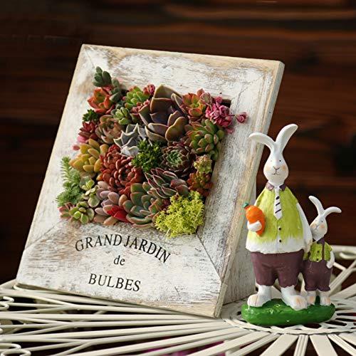 BJYX Blumentopf aus Holz im Bilderrahmen Saftige Töpfe Sukkulenten Pflanzen Hängetopf Hängender Pflanzer - Enthält Keine Pflanzen