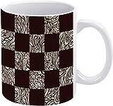 Tazza da caffè patchwork monocromatico quadrato a righe modello vacanza tazza di caffè