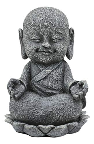 Ebros Feng Shui Zen Meditating Japanese Jizo Monk On Lotus Throne Statue 4' Tall Bodhisattva Buddha Talisman of Protection for Children and Baby Memorial Figurine (Bosatsu with Om Hand)