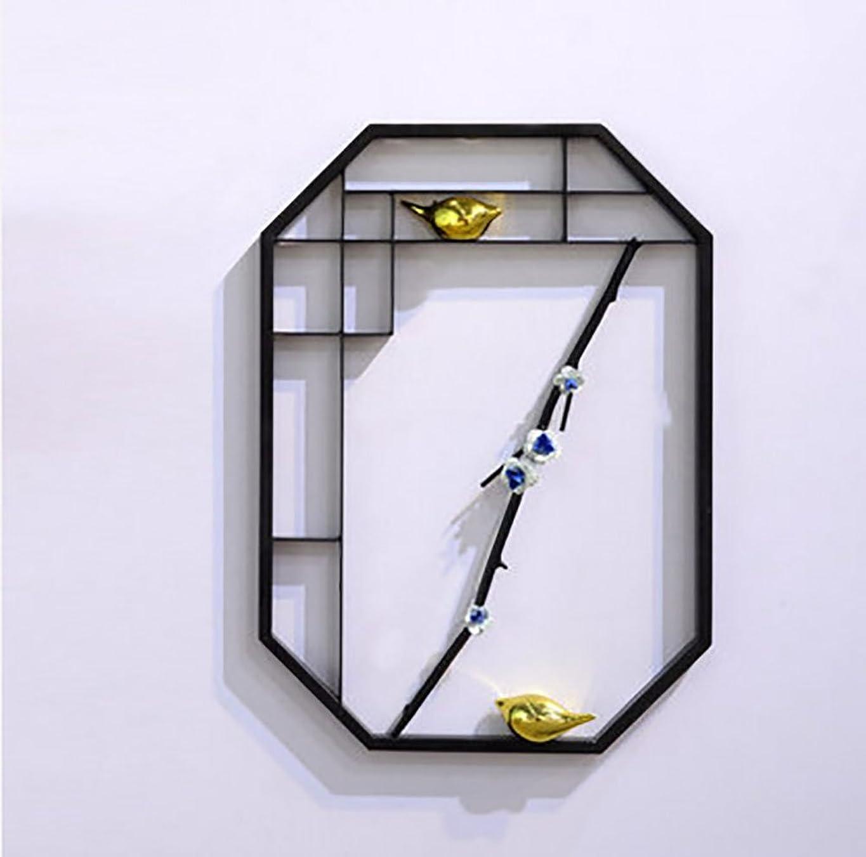 みなす一般化する火曜日幾何学 シェルフ,新しい中国スタイル 壁面 装飾 創造性 ホーム リビングルーム テレビ ソファ 背景 ウォールデコレーション 壁掛け コンチネンタル 鉄の芸術 掛けた ウォールデコレーション ペンダント (Size : M+2 Birds)