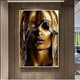 Arte moderno Maquillaje dorado Carteles e impresiones de mujeres Estilo nórdico Imágenes artísticas de pared Pintura en lienzo Cuadros Decoración para sala de estar 40x60cm Sin marco