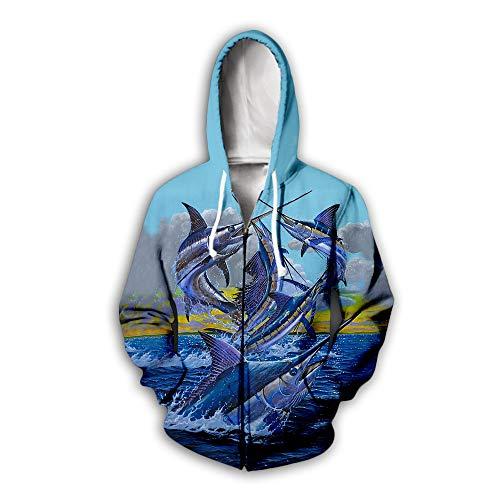 Männer Frauen Hoodies mit Reißverschluss 3D Fisch Kampf Druck Unisex Pullover Paar Langarm Strickjacke Sweatshirts Baseball Uniform Pullover Outdoor Freizeit Club, L