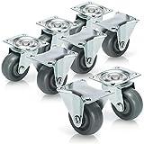 com-four® 8X Rollen zum Anschrauben - Möbel Lenkrollen 4X mit und 4X ohne Schwenklager - Transportrollen ohne Bremse (8 Stück - 37mm 240kg ohne Bremse)