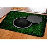UNICEU Doormat Non-Slip Manhole Cover Lawn Pattern Door Mat for Bedroom Bathroom Kitchen