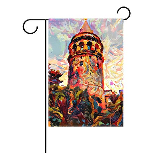 Sweetmen Oil Painting Lighthouse Polyester Garden Flag 28 x 40 Double Sided, Ocean Lighthouse Decorative House Flag for Party Home Outdoor Decor
