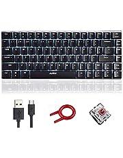 Mechanisch Toetsenbord, AK33 Witte LED Verlichte USB Kabel Mechanisch Gaming Toetsenbord, Compact Gaming Toetsenbord met 82 toetsen en Anti-ghosting Toetsen voor Gamers (Bruine schakelaar, Zwart)