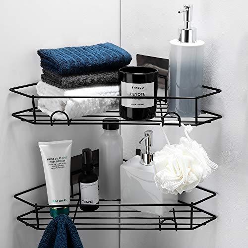 Taozun Duschregal Eckablage ohne Bohren, Duschablage Selbstklebend Duschkorb mit Haken für Badezimmer und Küche, 2 Stück Schwarz