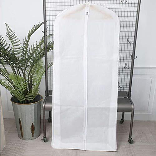 szlsl88 Stofdichte tas Lange kledingzak plooien ademende jurk Zip kleding opslag protector met afdekking draagbare trouwjurk (wit)