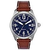 Citizen Eco-Drive Garrison Quartz Mens Watch, Stainless Steel with Leather strap, Field watch, Brown (Model: BM6838-17L)